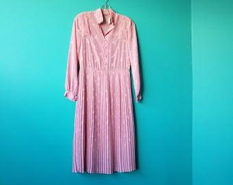 Pink Shirt Waist Dress With Birds - Japan