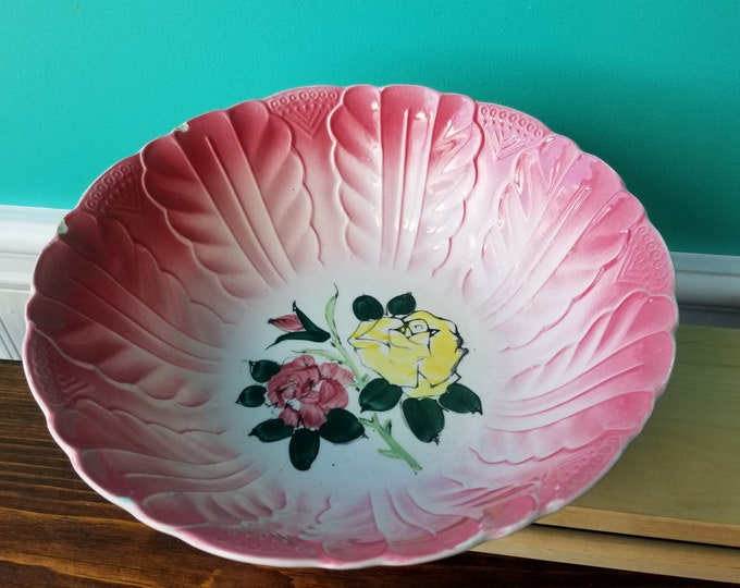 "9 1/2"" Ceramic Rose Petal Serving Bowl"