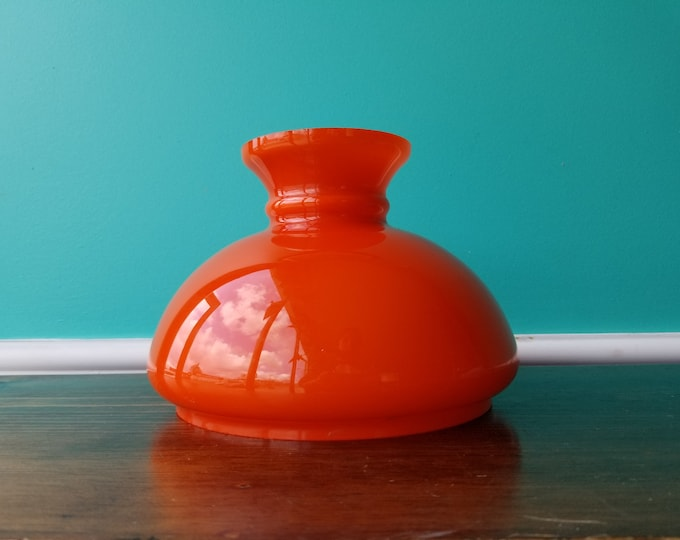 Vintage Orange & White Cased Glass Shade