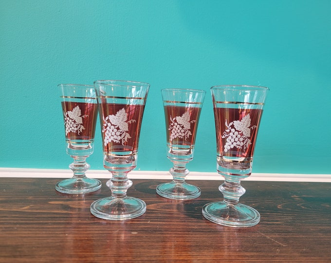 Four Cranberry Cordial Glasses