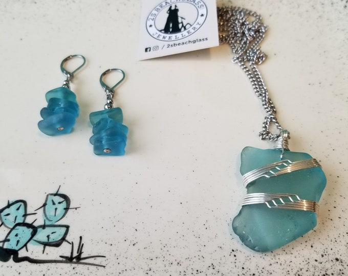 Wire Wrapped Beachglass Jewellery - 2SBeachglass