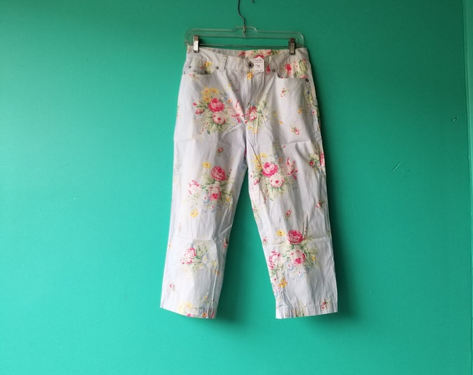 Pale Blue Floral Summer Pants - Ralph Lauren