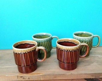 Vintage Ceramic Mugs - Set of Four - Made in Japan