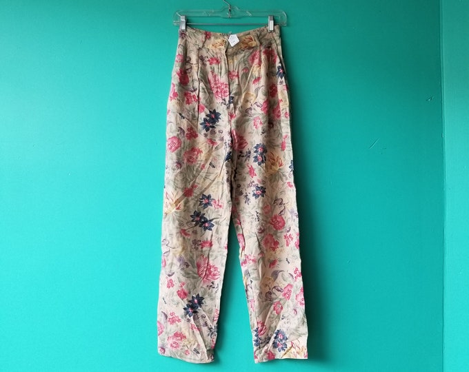 Floral High Waisted Linen Summer Pants