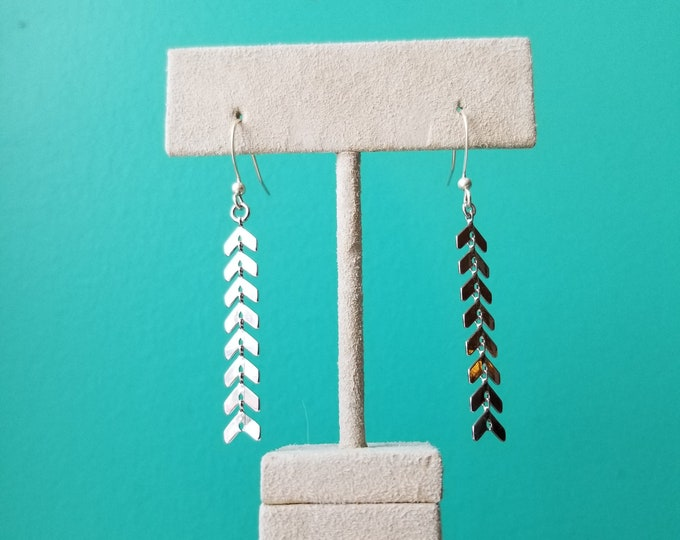 Dangly Herringbone Earrings - Sterling Silver - Fierce Deer