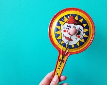 Vintage Tin Clown Noisemaker - U.S. Metal Toy Manufacturer