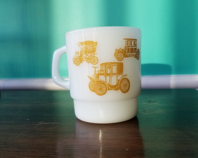 Fire King Novelty Milkglass Mug - Old Timey Car Themed