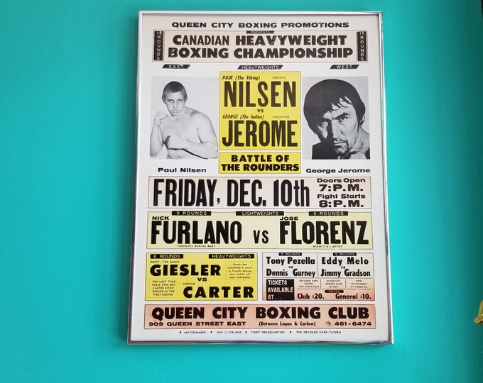 Framed 1976 Queen City Boxing Club Poster