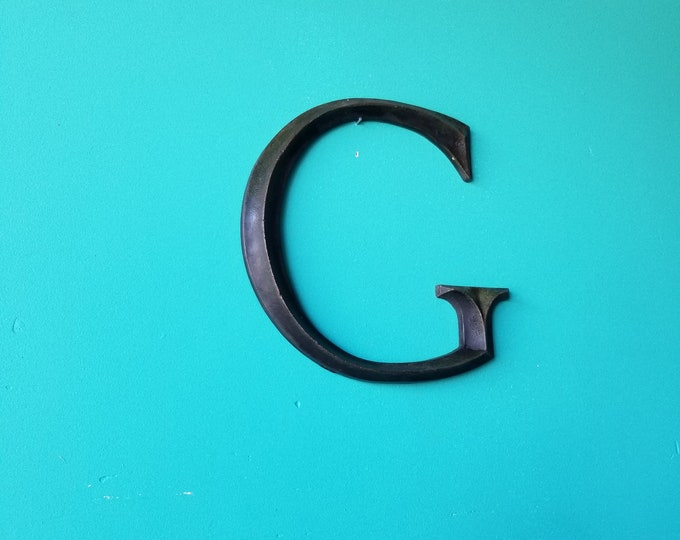 Solid Brass Salvaged Metal Signage Letter G