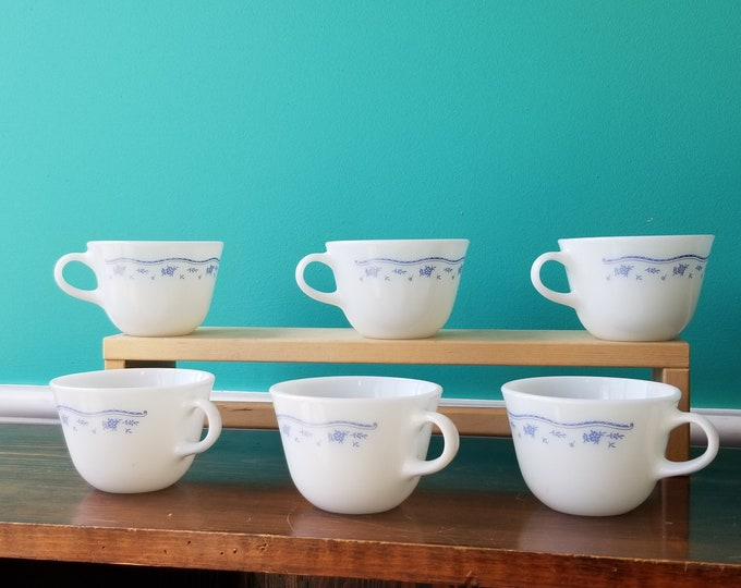 Set of Six Pyrex Morning Blue Milk Glass Coffee Cups