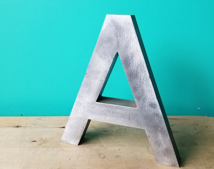 Large Salvaged Metal Signage Letter A