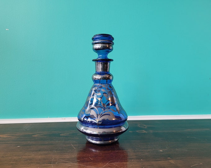 Silvered Blue Glass Decanter - Made in Italy