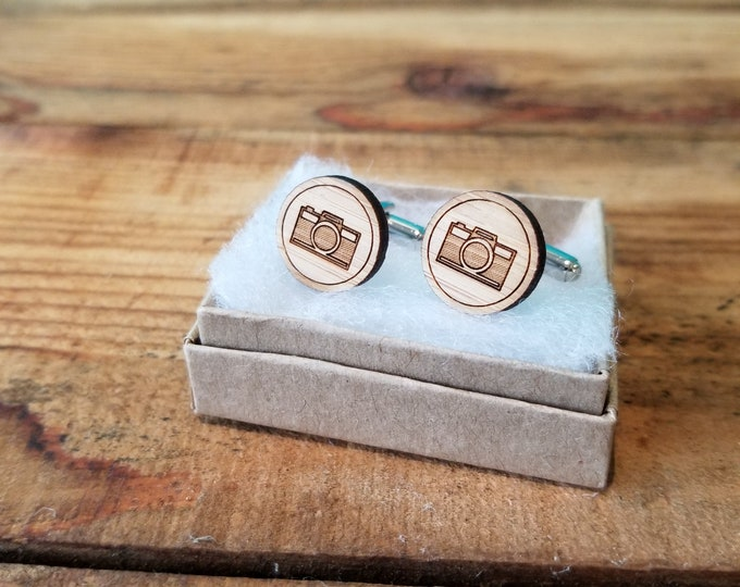Camera - Laser Etched Wooden Cufflinks
