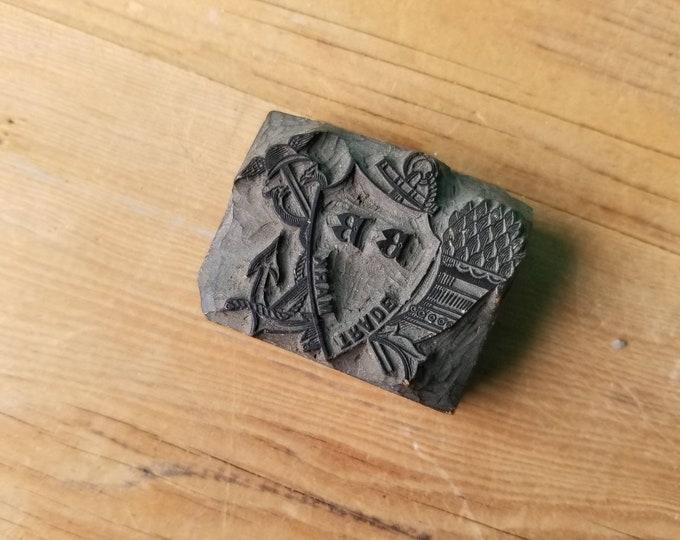 Trade Mark Logo Antique Wood Letterpress Block