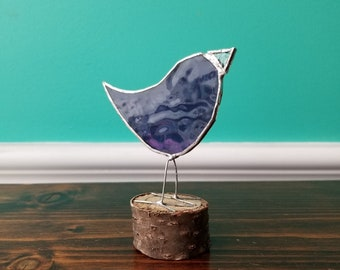 Stained Glass Bird on a Log - Made in Toronto by Maggie Groves
