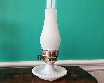 Hobnail Milk Glass 1950's Lamp