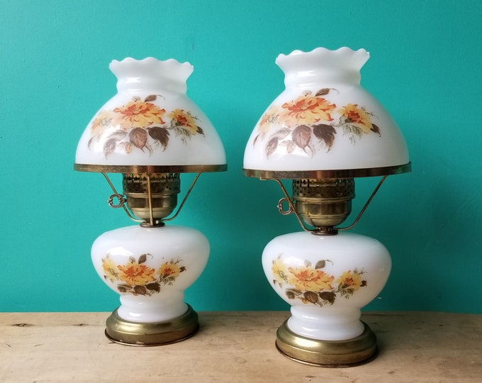Country Home Milkglass Bedside Lamp Pair