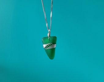 Wire Wrapped Beachglass Necklace - 2SBeachglass