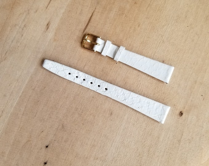 White Leather Watch Strap - 14