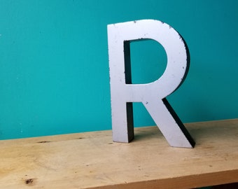 Large Salvaged Metal Signage Letter R