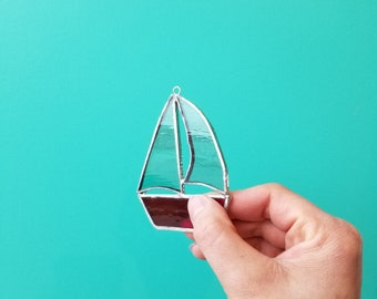 Stained Glass Sailboat Suncatcher - Made in Toronto by Maggie Groves