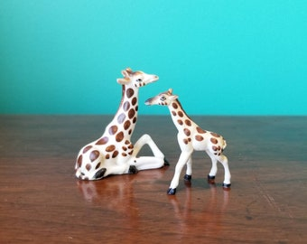 Porcelain Giraffe Family Figurines