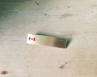 Brass Nameplate with Canadian Flag
