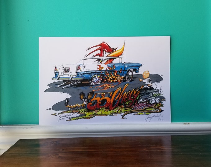 Jimmy Michaels Original - 55 Chevy Bel Air Hot Rod Art - Print