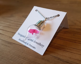Origami Crane in a Bottle Necklace - Handmade in Toronto - Pink