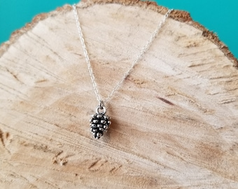 Teeny Tiny Pinecone Necklace - Sterling Silver