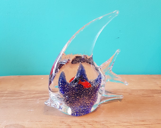 Blue Art Glass Angel Fish
