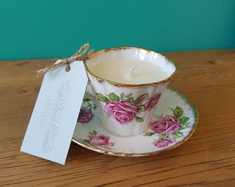 Royal Standard Orleans Rose Fine Bone China Tea Cup Soy Wax Candle