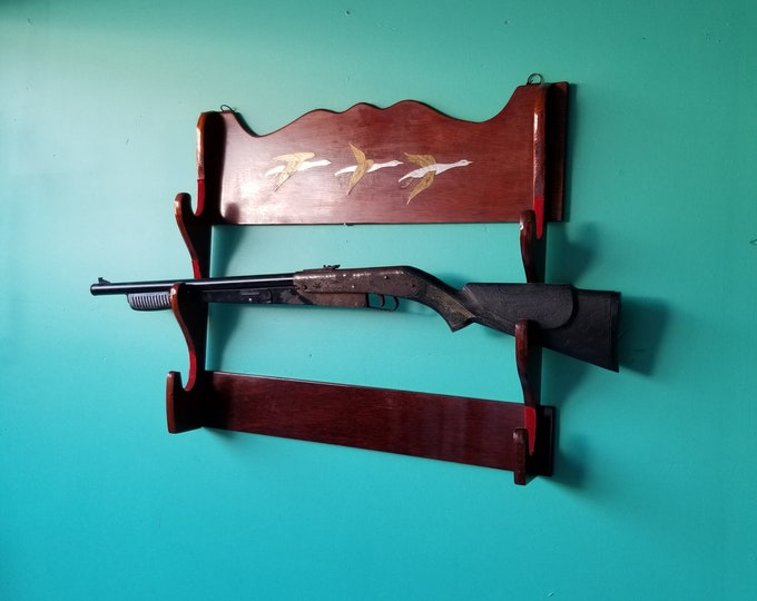Metal Inlaid Wooden Rifle Rack