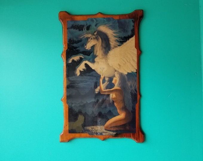 Pegasus Fantasy Art Print Mounted on Wood