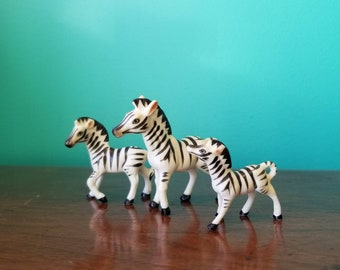 Porcelain Zebra Family Figurines