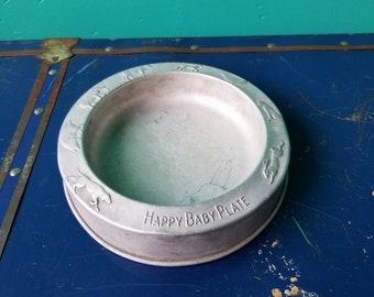 Happy Baby Bowl - Aluminum Baby Dish - West Bend Aluminum
