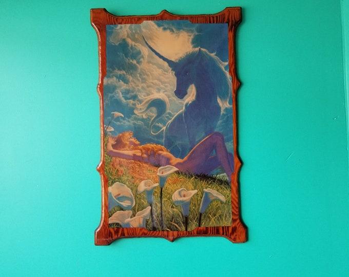 Unicorn Fantasy Art Print Mounted on Wood