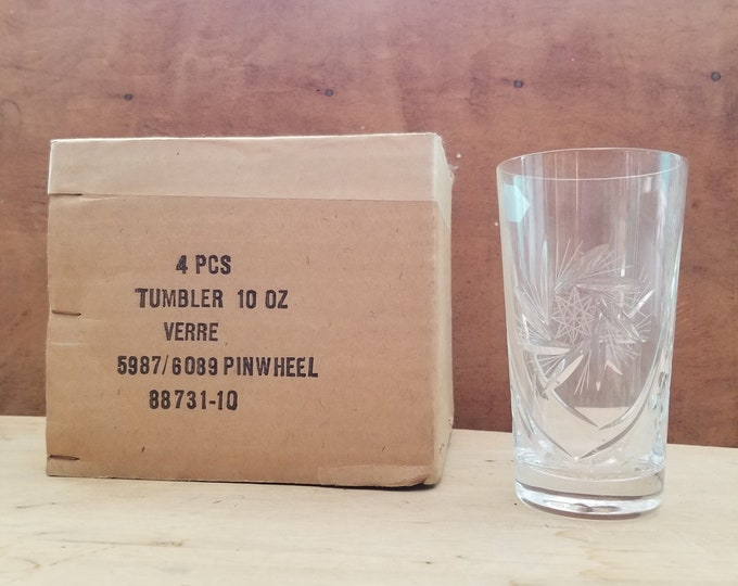 Set of 4 Sears 10 oz. Hand Cut Crystal Tumblers
