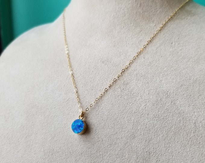 Blue Opal and 18k Gold Necklace