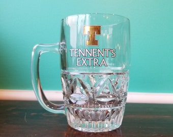 Vintage Tennent's Extra Molded 1 Pint Glass Mug