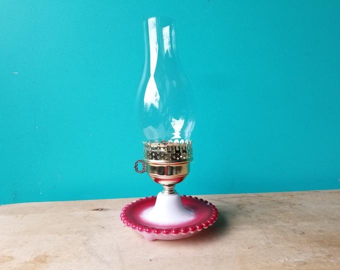 Painted Hobnail Milkglass Lamp
