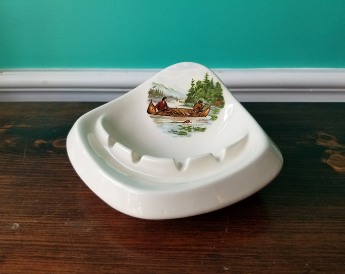 Pipe Ashtray - Currier and Ives Print - Hunting for Deer