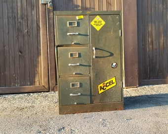 Heavy Duty Rustic Metal Filing Cabinet