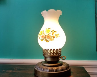Small Table Lamp With Milkglass Shade