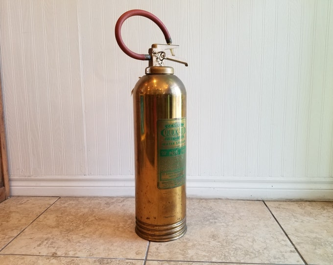 Vintage General Quick Aid Polished Brass Fire Extinguisher