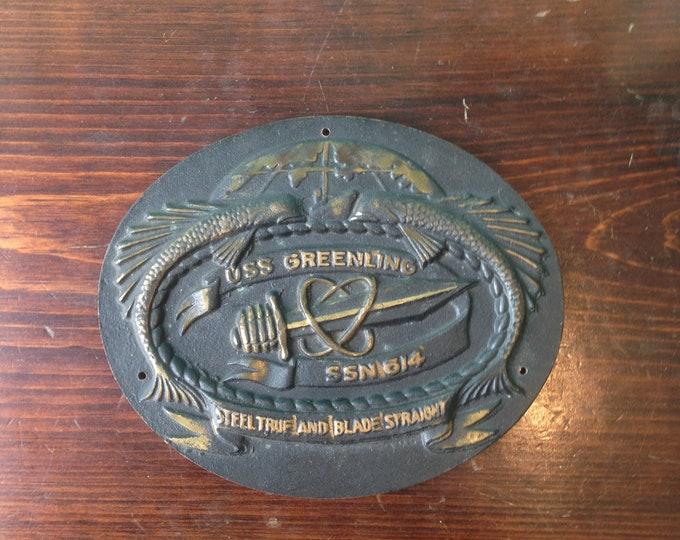 Brass USS Greenling Submarine Insignia Plate