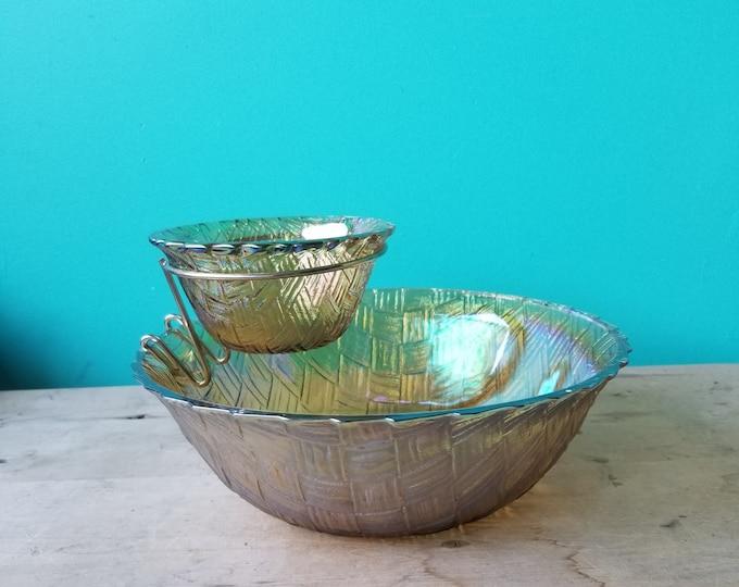 Iridescent Chip and Dip Bowl Set
