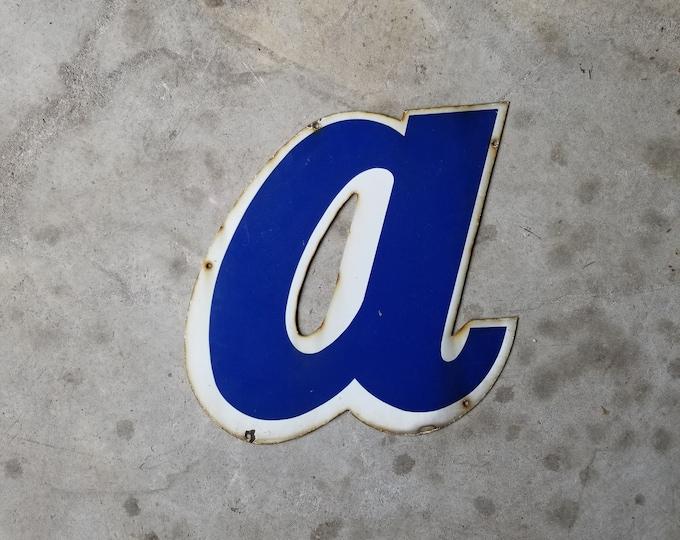 Large Porcelain Enamel Metal Signage Letter Lowercase a