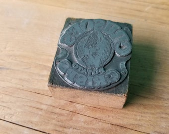 Crusoe's Potato Crisps Antique Wood Letterpress Block