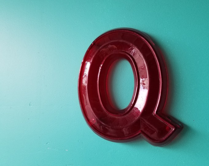 Salvaged Acrylic Neon Signage Letter Q